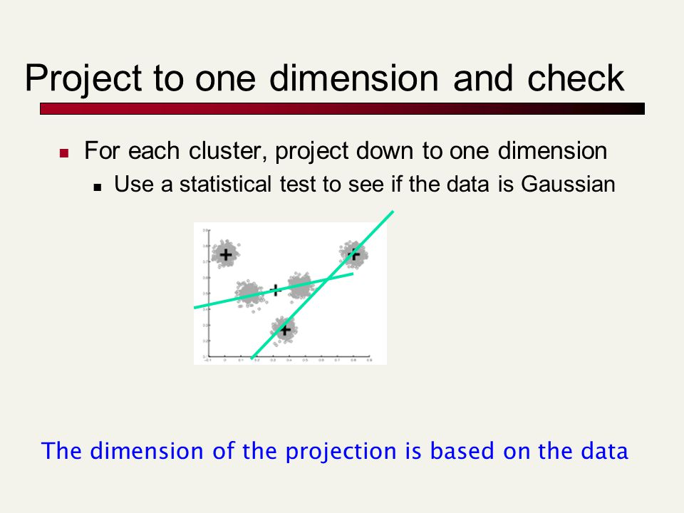 Project to one dimension and check For each cluster, project down to one dimension Use a statistical test to see if the data is Gaussian The dimension of the projection is based on the data