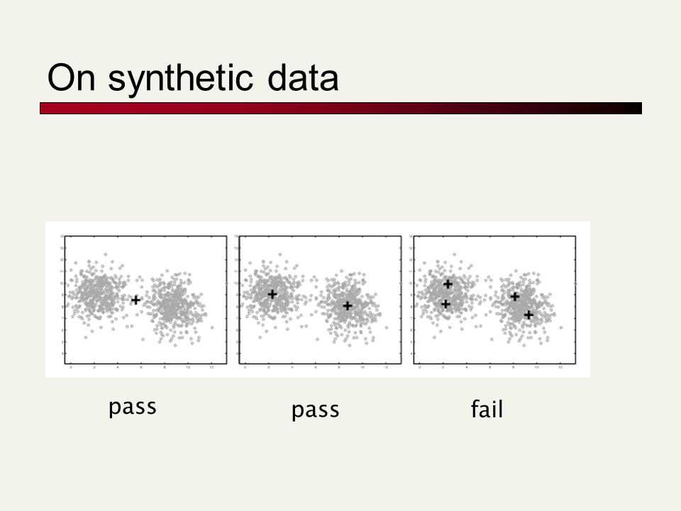 On synthetic data pass fail