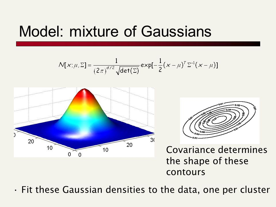 Model: mixture of Gaussians Covariance determines the shape of these contours Fit these Gaussian densities to the data, one per cluster