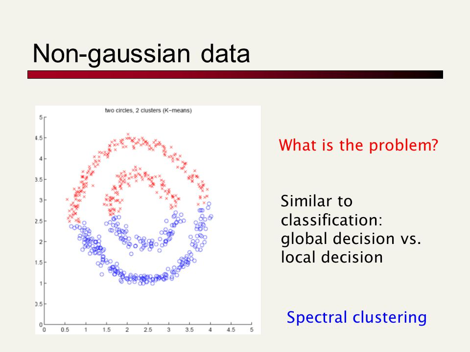 Non-gaussian data What is the problem. Similar to classification: global decision vs.