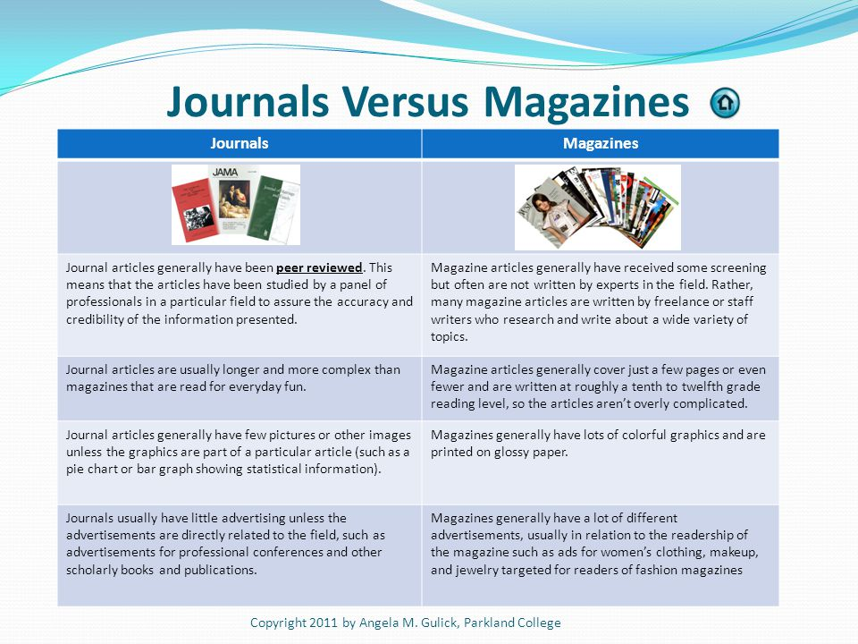 Journals Versus Magazines Source for image: iol.utexas.edu Copyright 2011 by Angela M. Gulick, Parkland College JournalsMagazines Journal articles gen