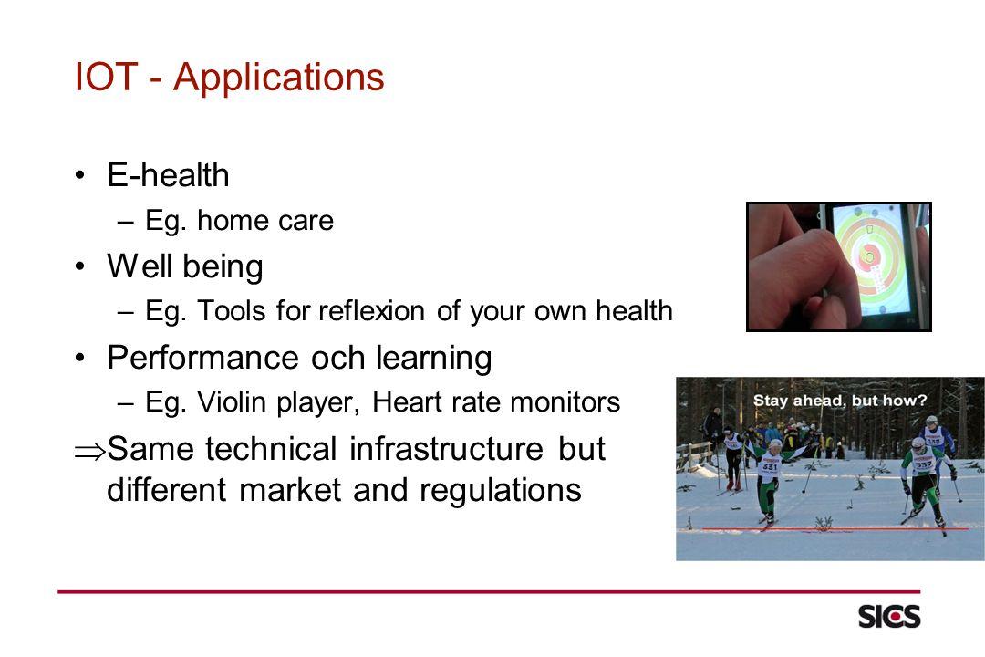 IOT - Applications E-health –Eg. home care Well being –Eg.