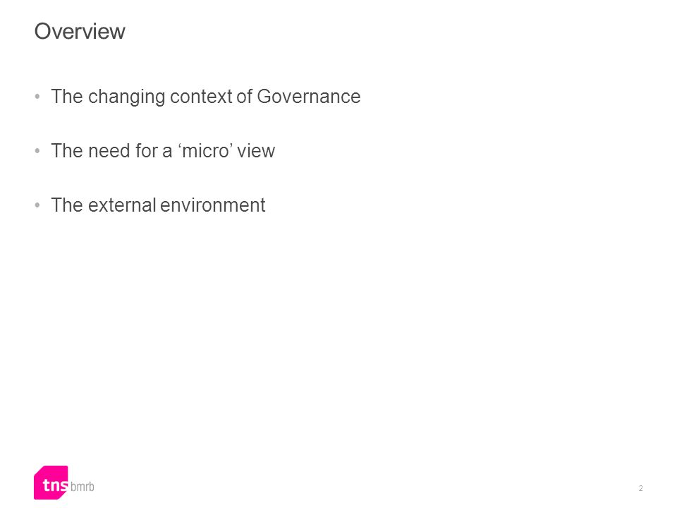 Overview The changing context of Governance The need for a micro view The external environment 2