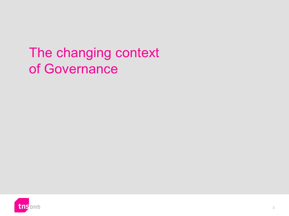 The changing context of Governance 3