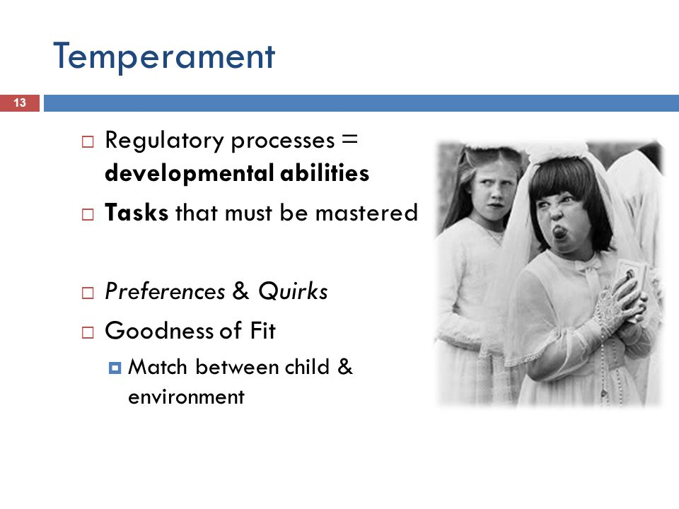Temperament 13 Regulatory processes = developmental abilities Tasks that must be mastered Preferences & Quirks Goodness of Fit Match between child & environment