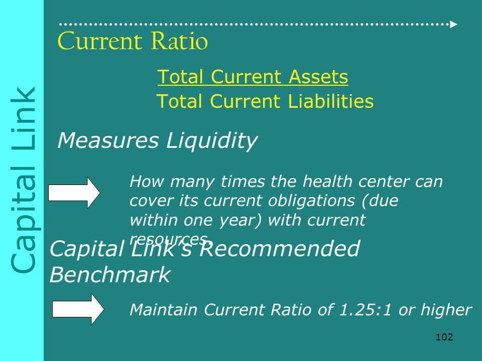 Capital Link Current Ratio Total Current Assets Total Current Liabilities Measures Liquidity How many times the health center can cover its current obligations (due within one year) with current resources.