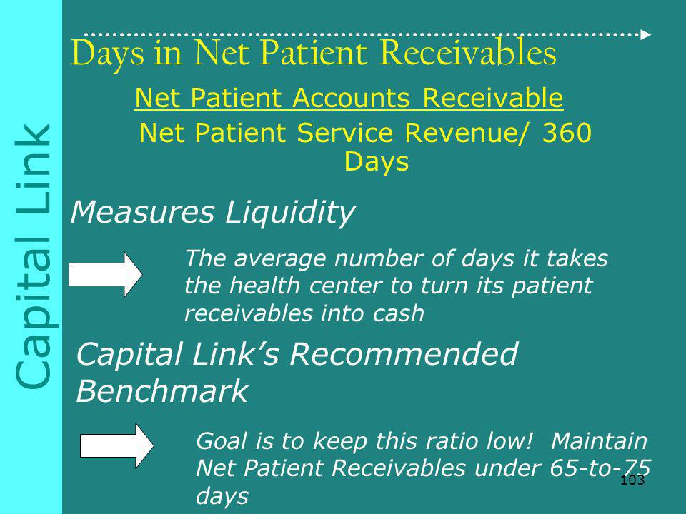 Capital Link Days in Net Patient Receivables Net Patient Accounts Receivable Net Patient Service Revenue/ 360 Days Measures Liquidity The average number of days it takes the health center to turn its patient receivables into cash Capital Links Recommended Benchmark Goal is to keep this ratio low.