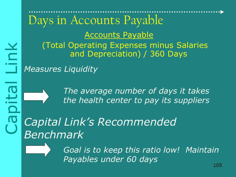 Capital Link Days in Accounts Payable Accounts Payable (Total Operating Expenses minus Salaries and Depreciation) / 360 Days Measures Liquidity The average number of days it takes the health center to pay its suppliers Capital Links Recommended Benchmark Goal is to keep this ratio low.