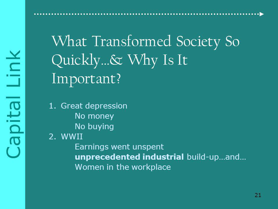 Capital Link What Transformed Society So Quickly…& Why Is It Important.