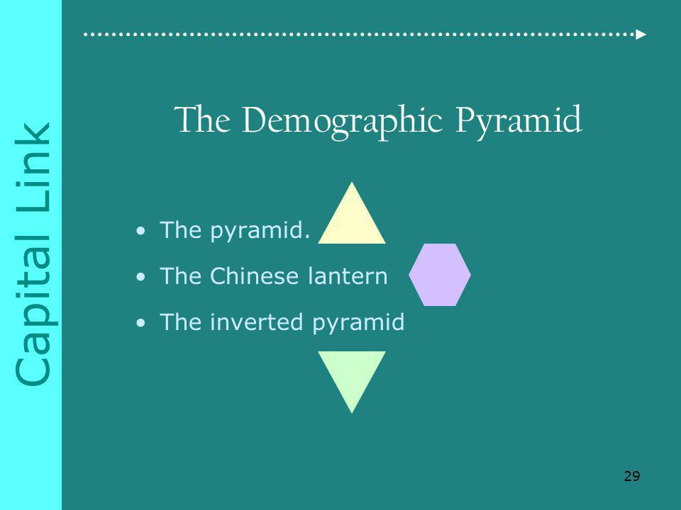 Capital Link The Demographic Pyramid The pyramid. The Chinese lantern The inverted pyramid 29