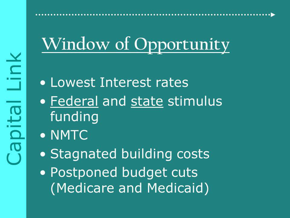 Capital Link Window of Opportunity Lowest Interest rates Federal and state stimulus funding NMTC Stagnated building costs Postponed budget cuts (Medicare and Medicaid)
