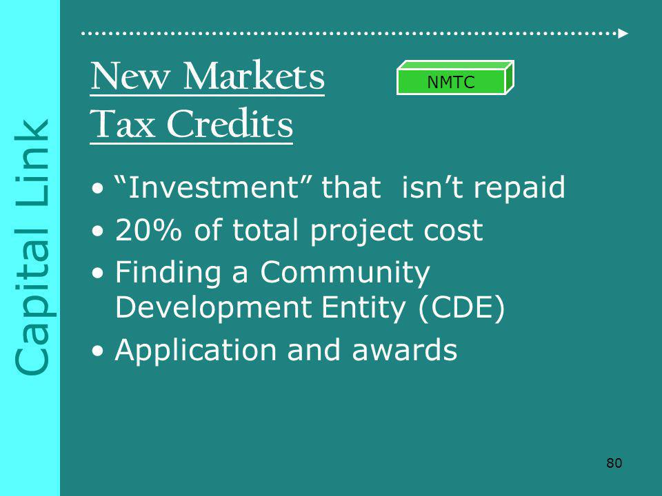 Capital Link New Markets Tax Credits Investment that isnt repaid 20% of total project cost Finding a Community Development Entity (CDE) Application and awards 80 NMTC