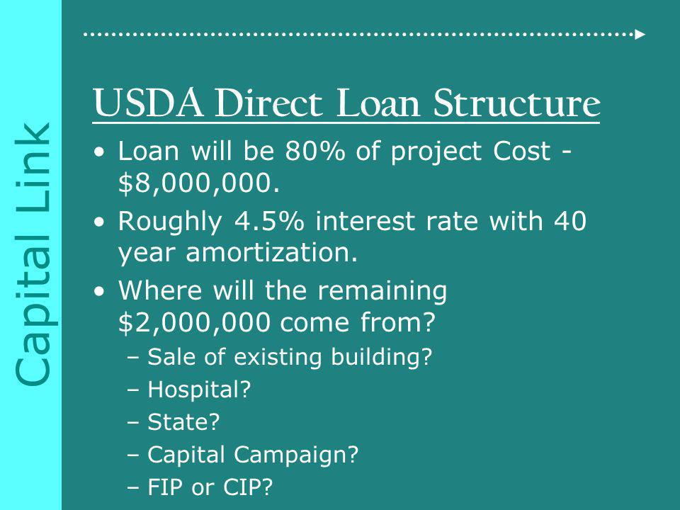 Capital Link USDA Direct Loan Structure Loan will be 80% of project Cost - $8,000,000.