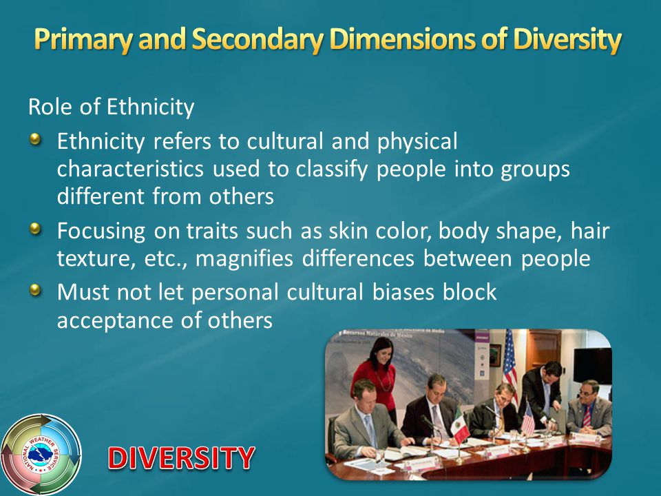 Role of Ethnicity Ethnicity refers to cultural and physical characteristics used to classify people into groups different from others Focusing on traits such as skin color, body shape, hair texture, etc., magnifies differences between people Must not let personal cultural biases block acceptance of others