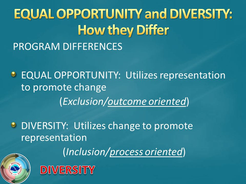 PROGRAM DIFFERENCES EQUAL OPPORTUNITY: Utilizes representation to promote change (Exclusion/outcome oriented) DIVERSITY: Utilizes change to promote representation (Inclusion/process oriented)