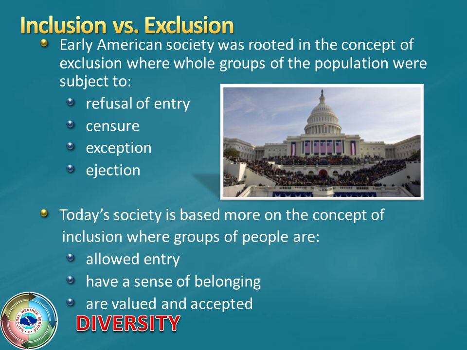 Early American society was rooted in the concept of exclusion where whole groups of the population were subject to: refusal of entry censure exception ejection Todays society is based more on the concept of inclusion where groups of people are: allowed entry have a sense of belonging are valued and accepted