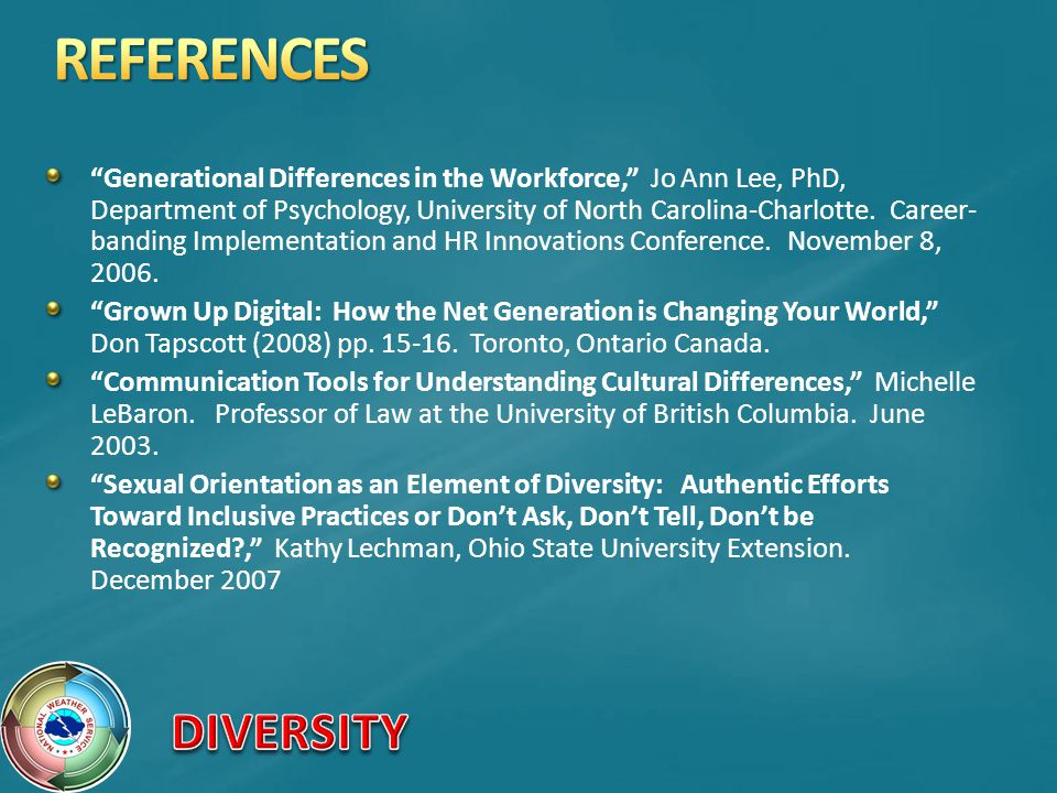 Generational Differences in the Workforce, Jo Ann Lee, PhD, Department of Psychology, University of North Carolina-Charlotte.