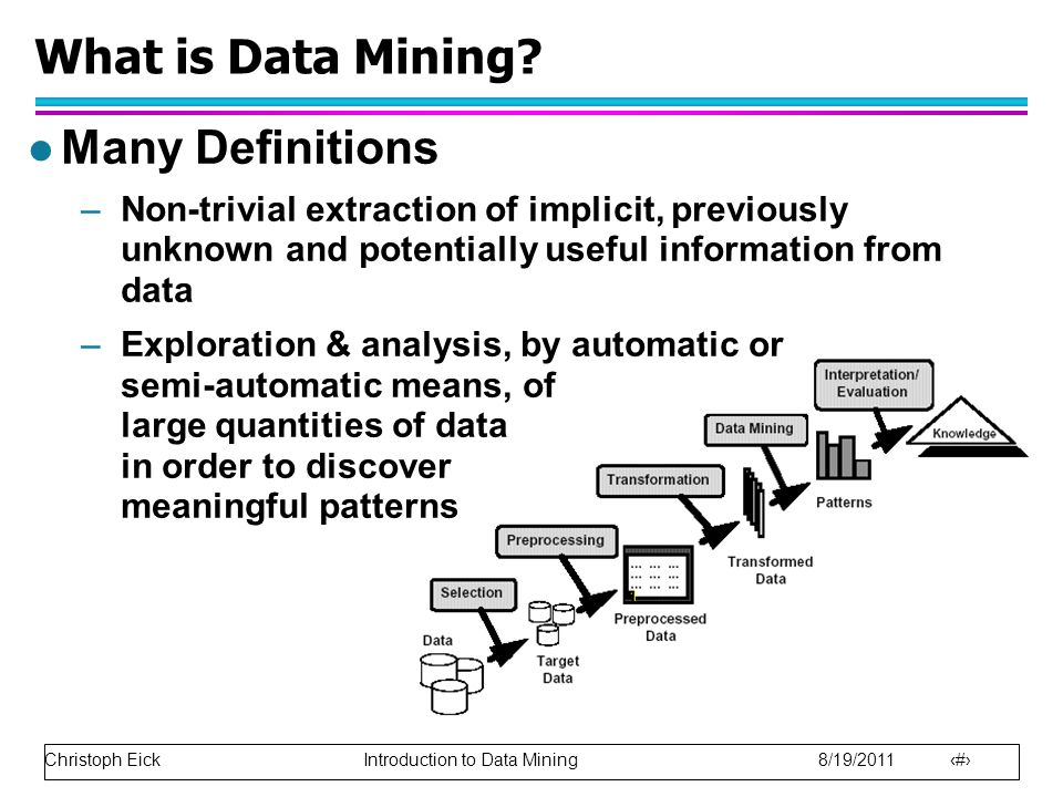 Christoph Eick Introduction to Data Mining 8/19/2011 6 What is Data Mining? l Many Definitions –Non-trivial extraction of implicit, previously unknown