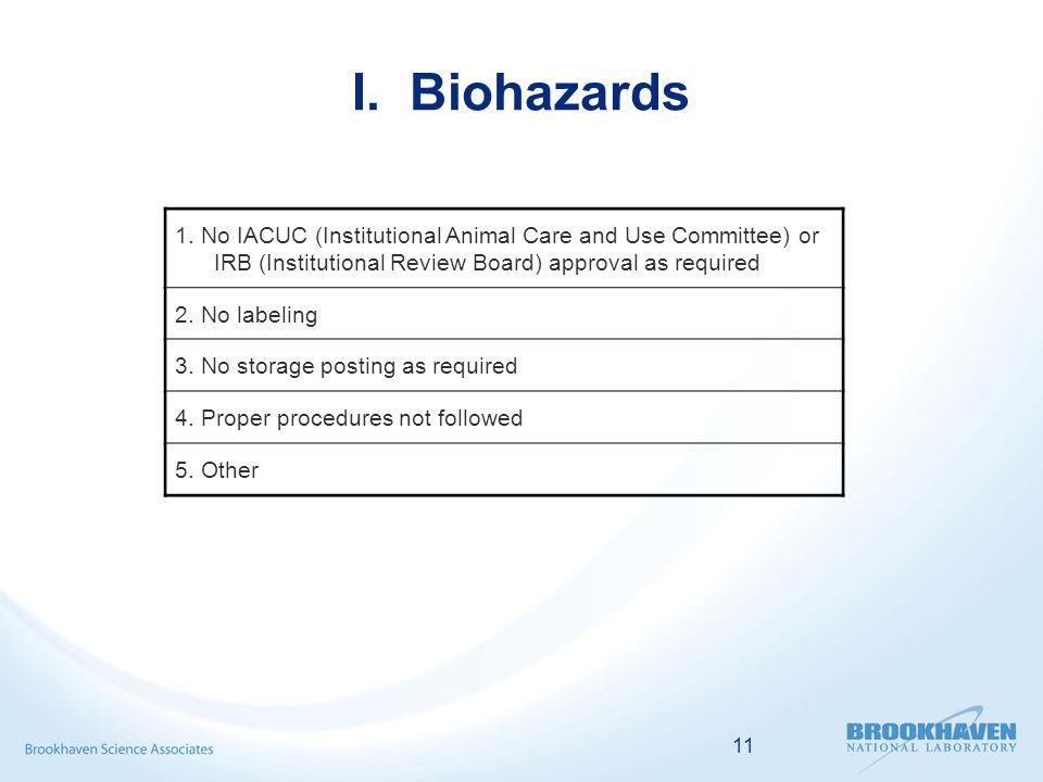 11 I. Biohazards 1.
