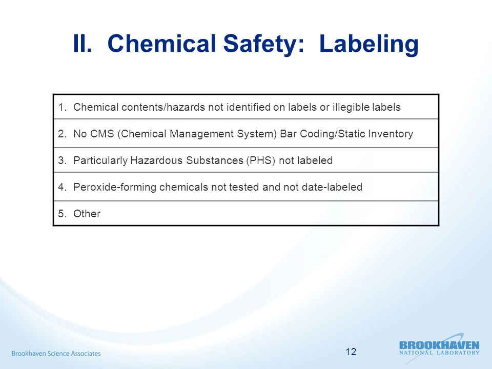 12 II. Chemical Safety: Labeling 1.