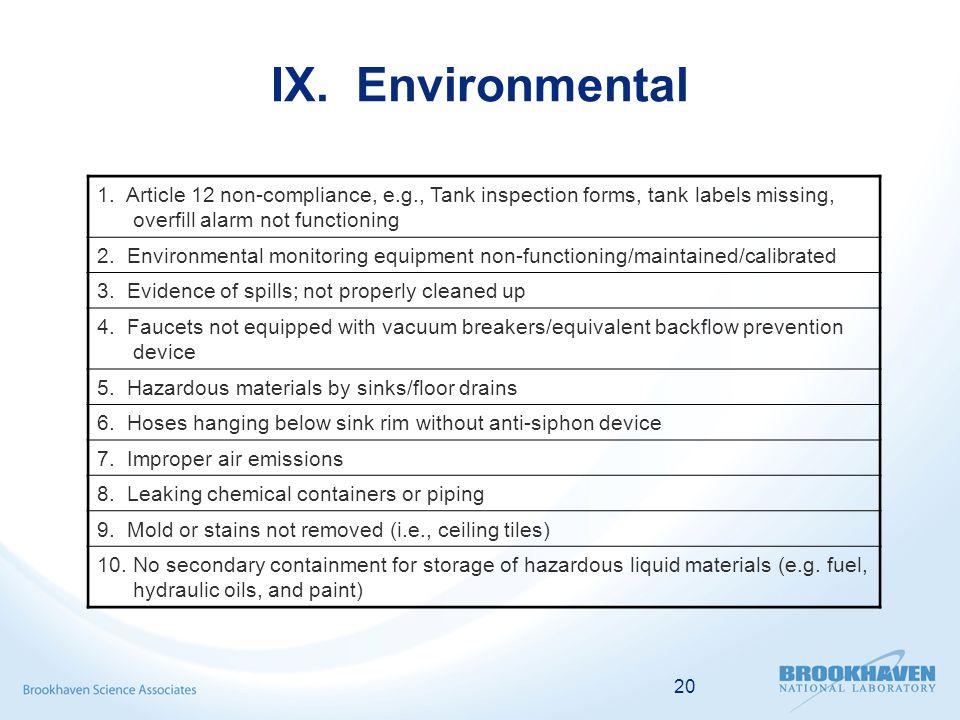 20 IX. Environmental 1.