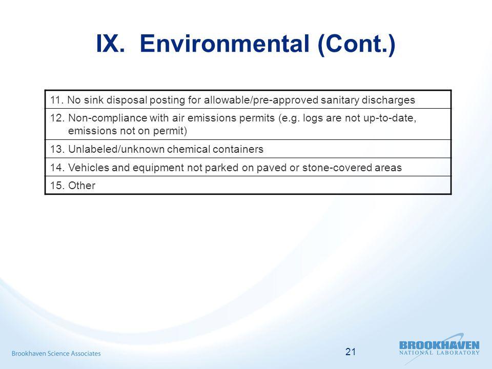 21 IX. Environmental (Cont.) 11.