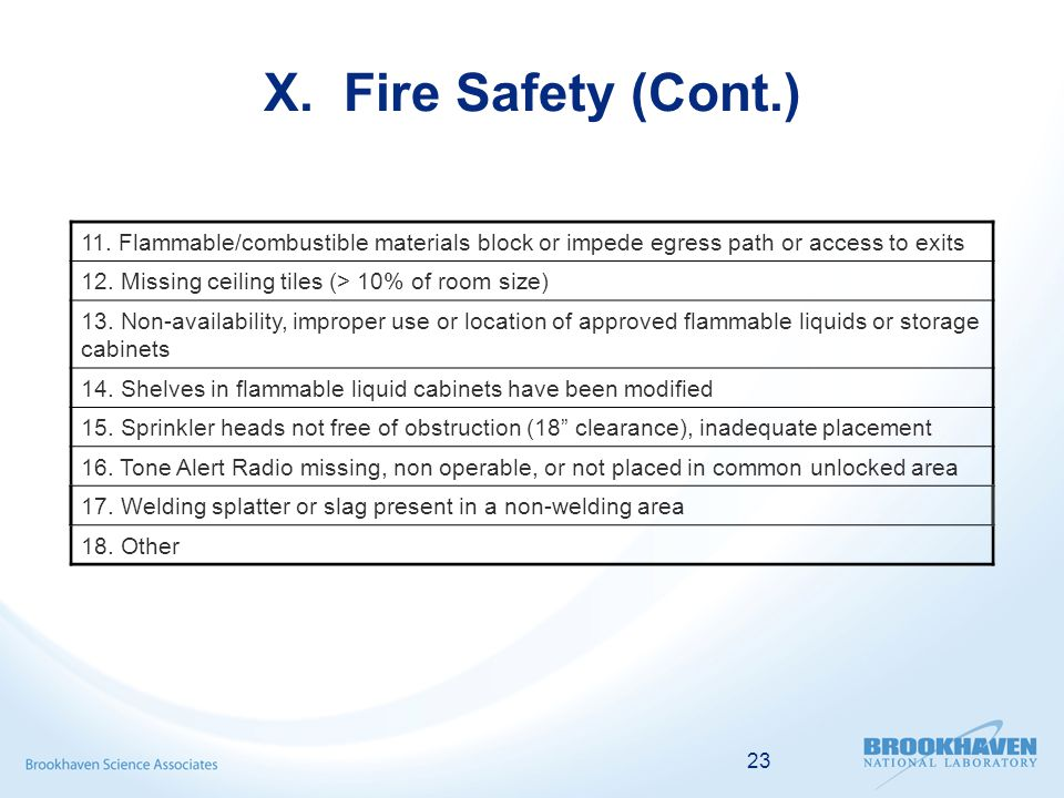 23 X. Fire Safety (Cont.) 11.