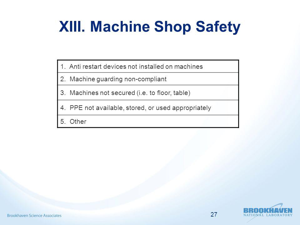 27 XIII. Machine Shop Safety 1. Anti restart devices not installed on machines 2.