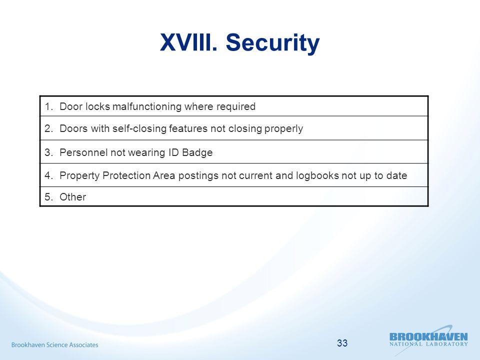 33 XVIII. Security 1. Door locks malfunctioning where required 2.