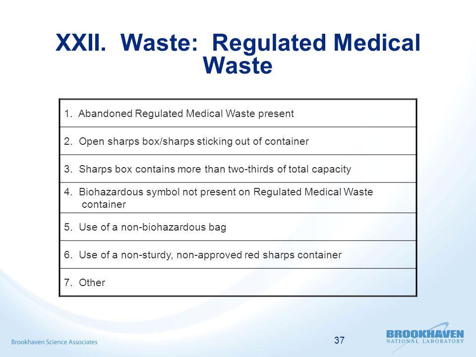 37 XXII. Waste: Regulated Medical Waste 1. Abandoned Regulated Medical Waste present 2.