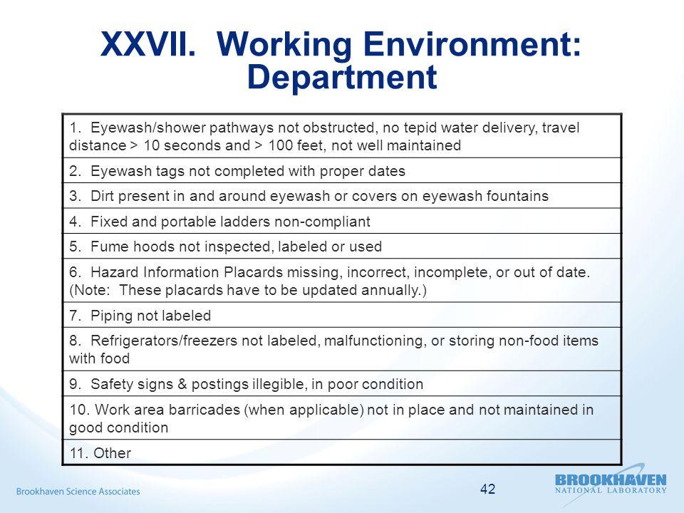 42 XXVII. Working Environment: Department 1.