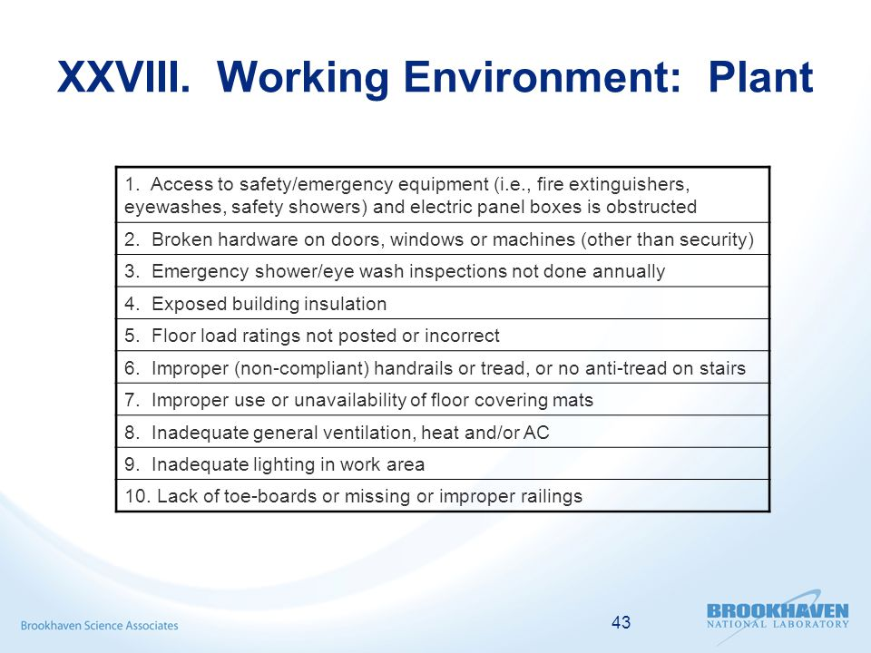 43 XXVIII. Working Environment: Plant 1.