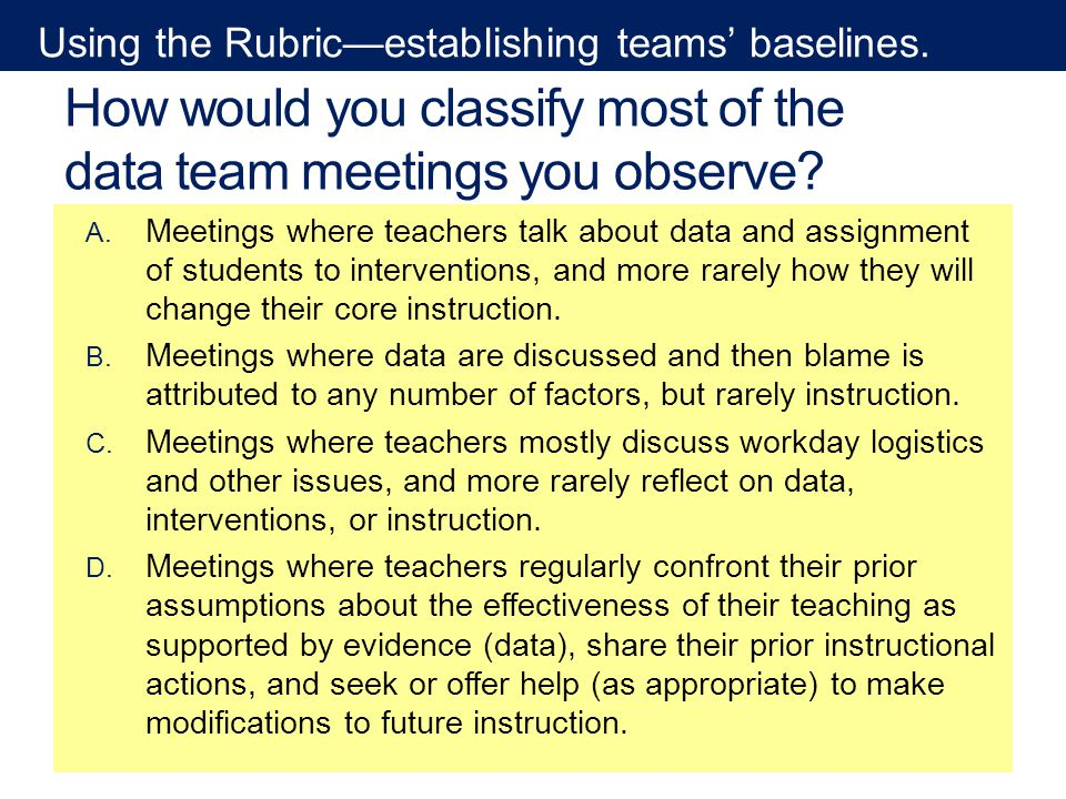 How would you classify most of the data team meetings you observe.