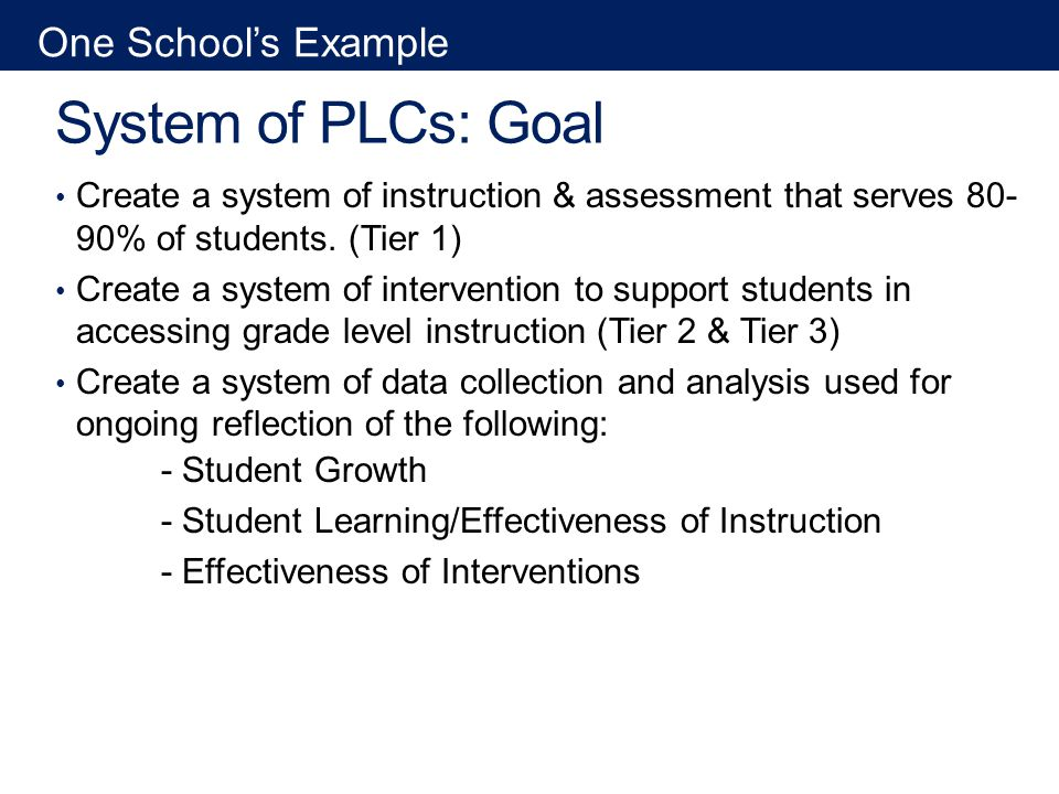 System of PLCs: Goal Create a system of instruction & assessment that serves 80- 90% of students.