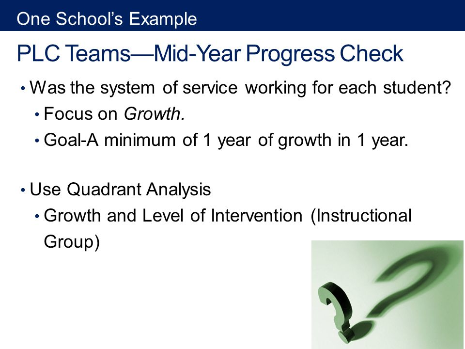 PLC TeamsMid-Year Progress Check Was the system of service working for each student.