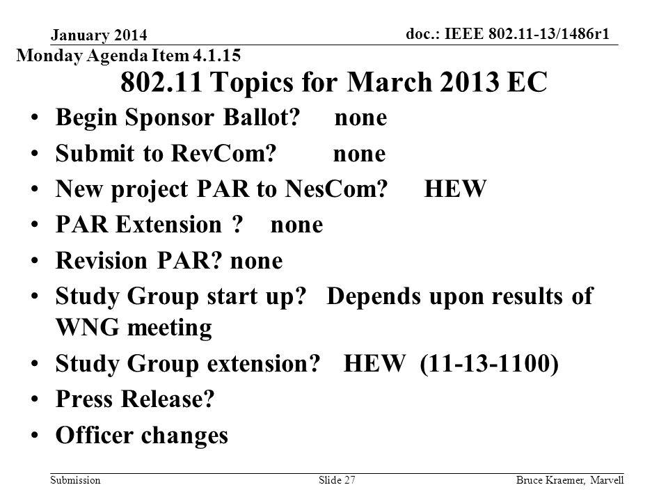 doc.: IEEE 802.11-13/1486r1 Submission January 2014 Bruce Kraemer, MarvellSlide 27 802.11 Topics for March 2013 EC Begin Sponsor Ballot.