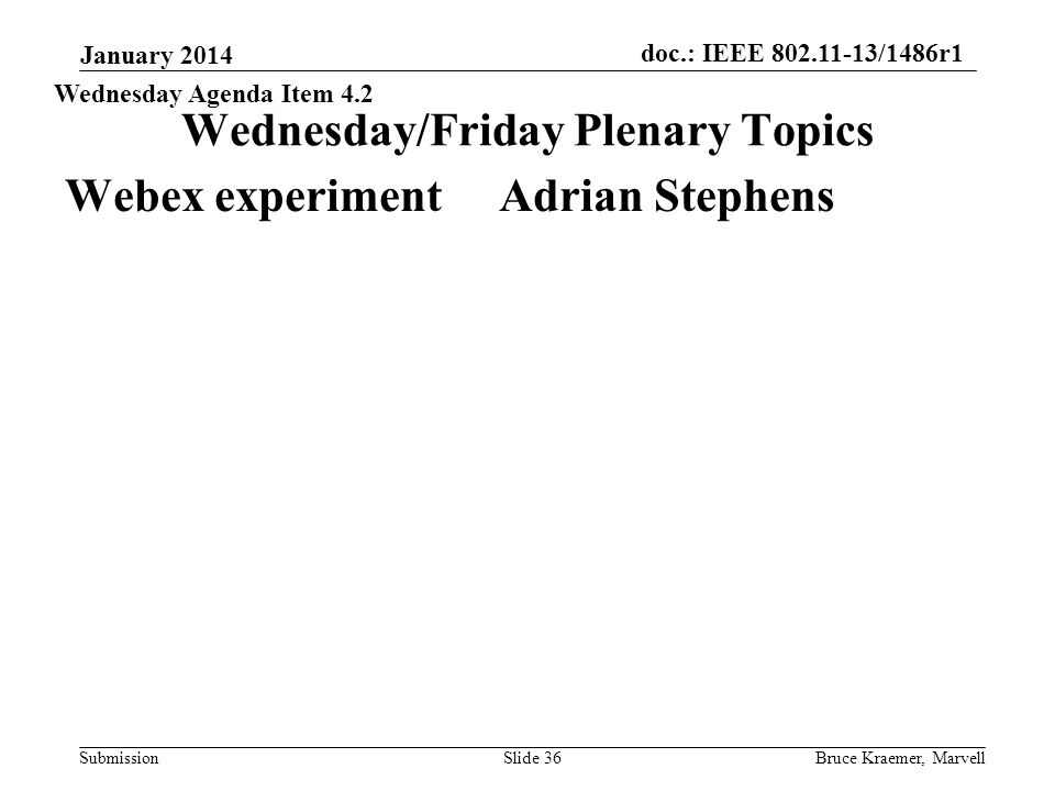 doc.: IEEE 802.11-13/1486r1 Submission Wednesday/Friday Plenary Topics Webex experiment Adrian Stephens January 2014 Bruce Kraemer, MarvellSlide 36 Wednesday Agenda Item 4.2