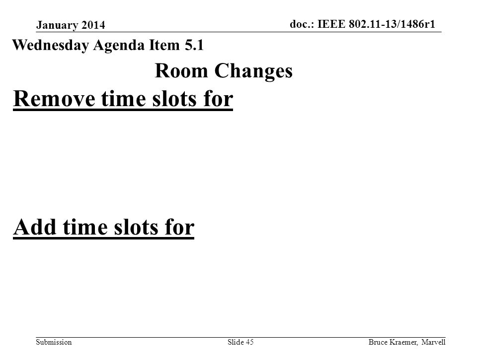 doc.: IEEE 802.11-13/1486r1 Submission January 2014 Bruce Kraemer, MarvellSlide 45 Room Changes Wednesday Agenda Item 5.1 Remove time slots for Add time slots for