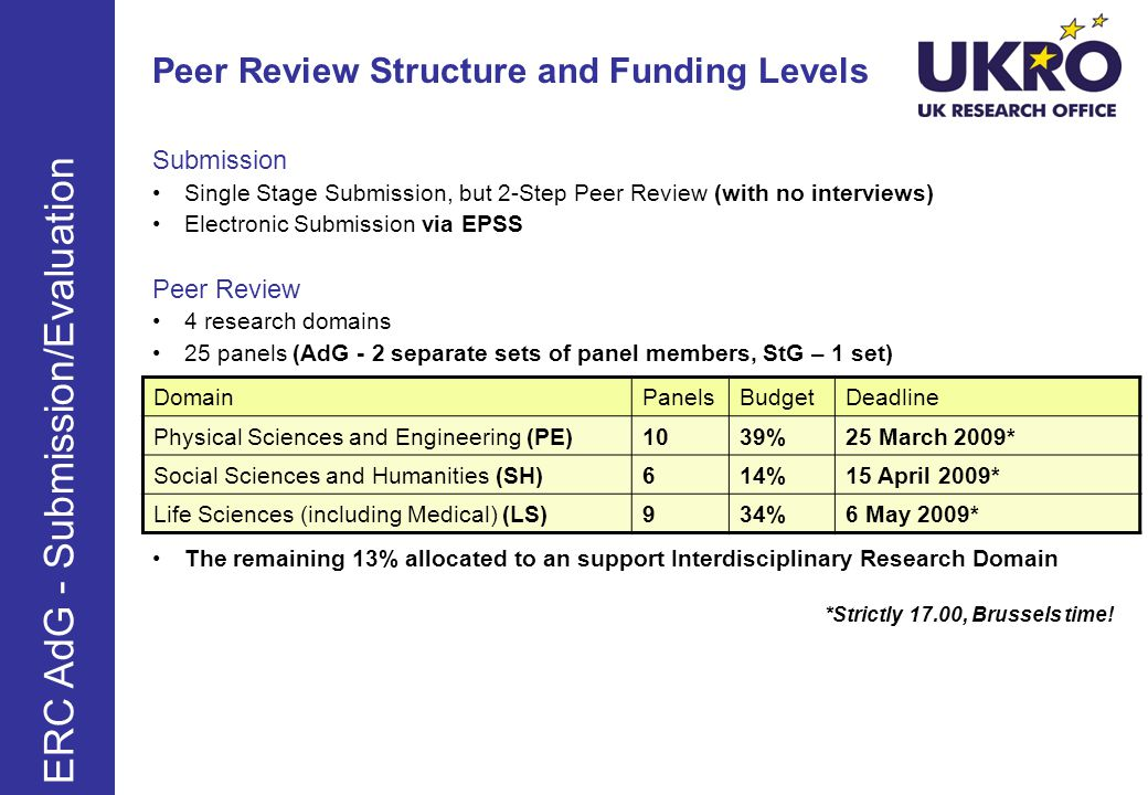 Peer Review Structure and Funding Levels Submission Single Stage Submission, but 2-Step Peer Review (with no interviews) Electronic Submission via EPSS Peer Review 4 research domains 25 panels (AdG - 2 separate sets of panel members, StG – 1 set) The remaining 13% allocated to an support Interdisciplinary Research Domain *Strictly 17.00, Brussels time.