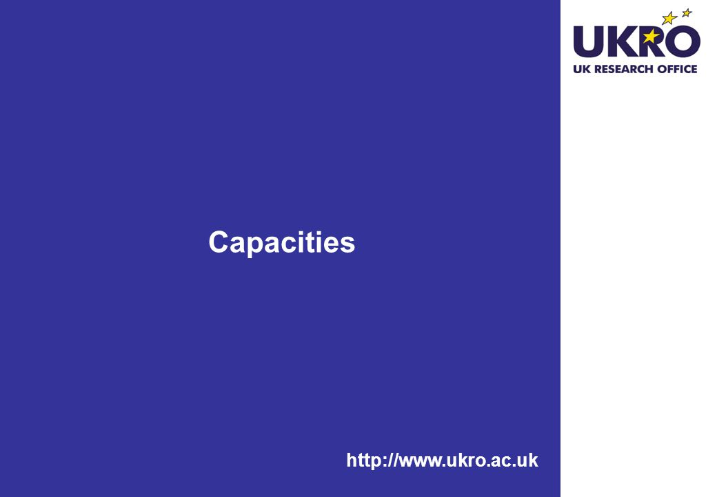 http://www.ukro.ac.uk Capacities