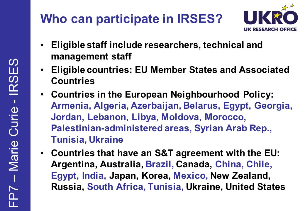 Who can participate in IRSES.