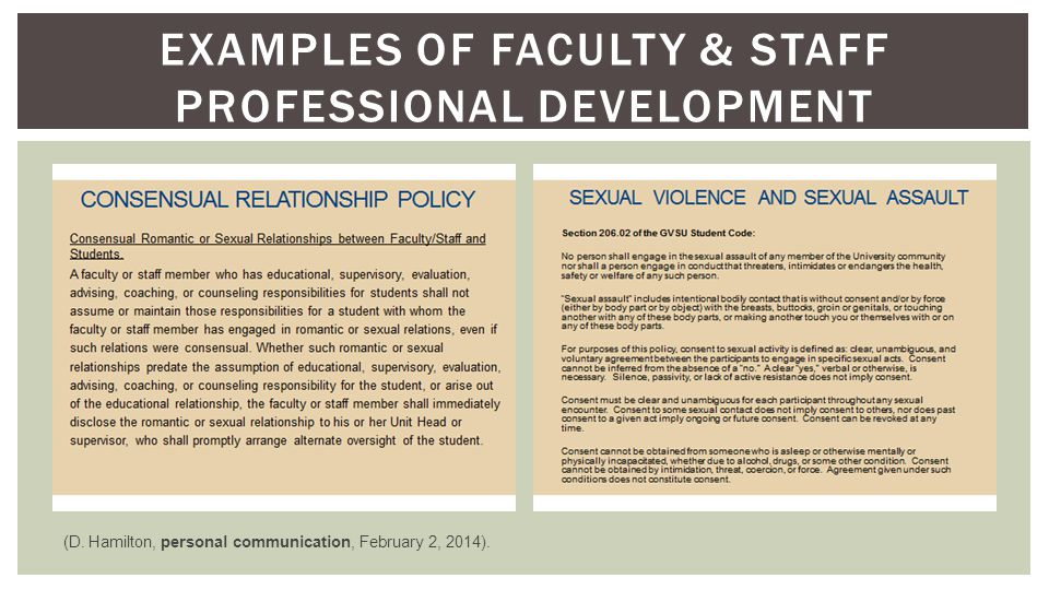 EXAMPLES OF FACULTY & STAFF PROFESSIONAL DEVELOPMENT (D.
