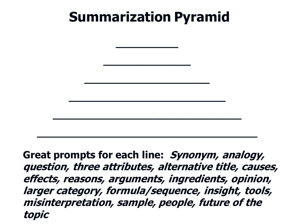 Summarization Pyramid __________ ______________ ____________________ _________________________ ______________________________ ________________________