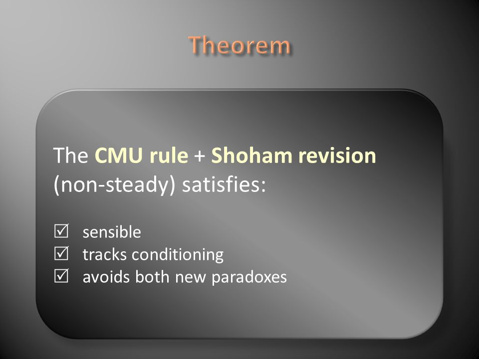 The CMU rule + Shoham revision (non-steady) satisfies: sensible tracks conditioning avoids both new paradoxes
