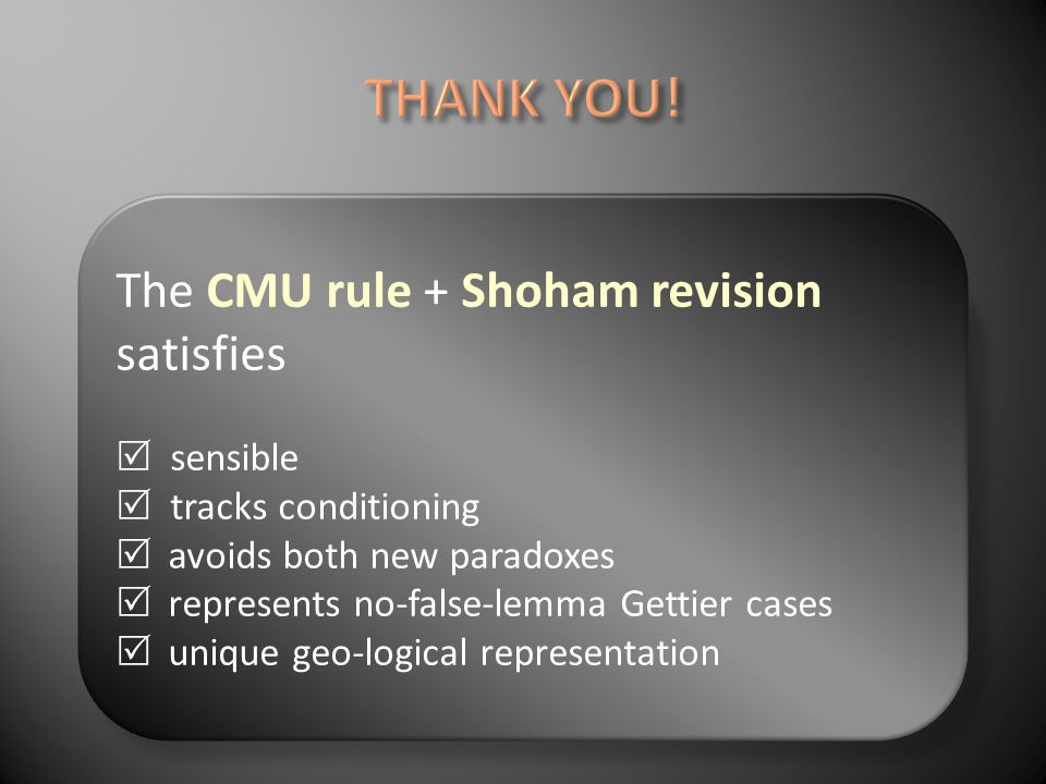 The CMU rule + Shoham revision satisfies sensible tracks conditioning avoids both new paradoxes represents no-false-lemma Gettier cases unique geo-logical representation