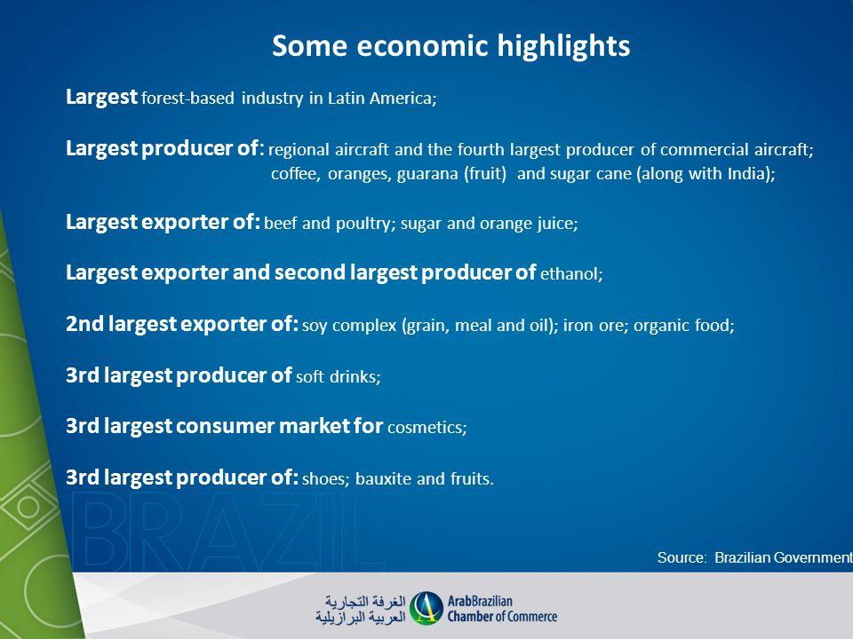 Some economic highlights Largest forest-based industry in Latin America; Largest producer of: regional aircraft and the fourth largest producer of com