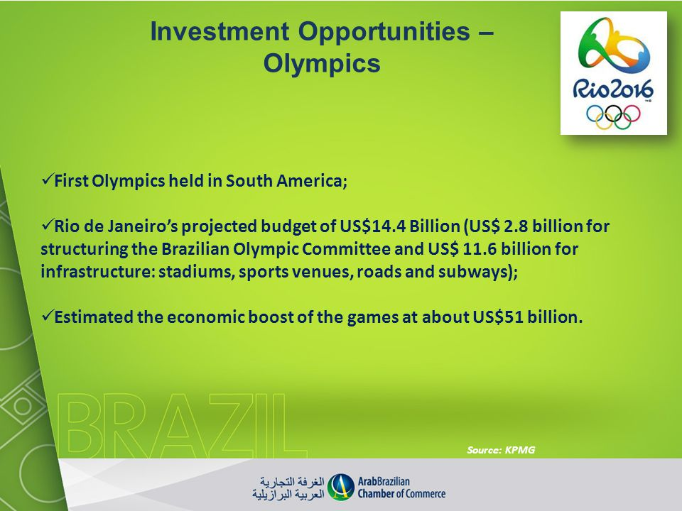 Investment Opportunities – Olympics First Olympics held in South America; Rio de Janeiros projected budget of US$14.4 Billion (US$ 2.8 billion for str
