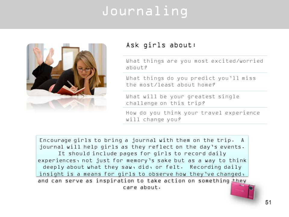 Encourage girls to bring a journal with them on the trip. A journal will help girls as they reflect on the days events. It should include pages for gi