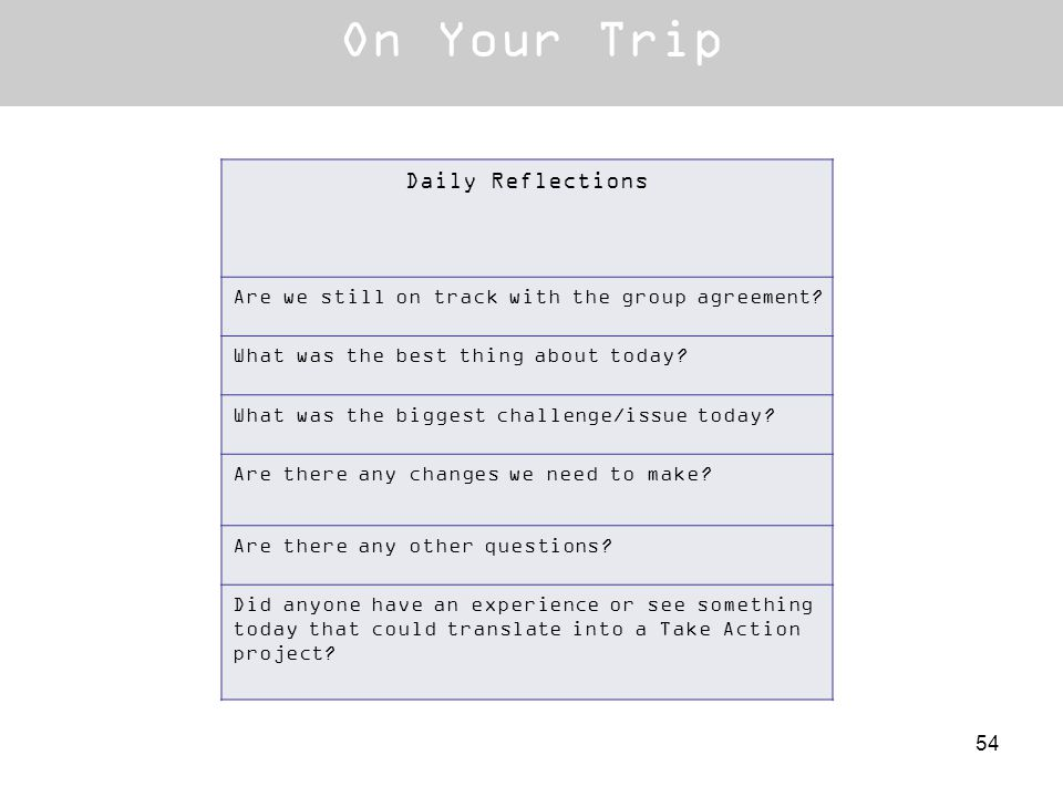 On Your Trip Daily Reflections Are we still on track with the group agreement? What was the best thing about today? What was the biggest challenge/iss