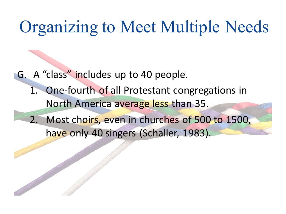 Organizing to Meet Multiple Needs G.A class includes up to 40 people.